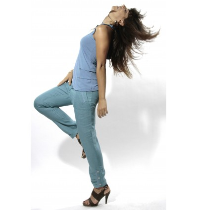 pantalon femme taille haute en lin naturel de la marque maloka