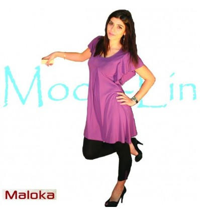 short dress in plum-colored viscose Maloka - Miami