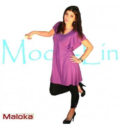 robe courte en viscose Maloka couleur prune - Miami