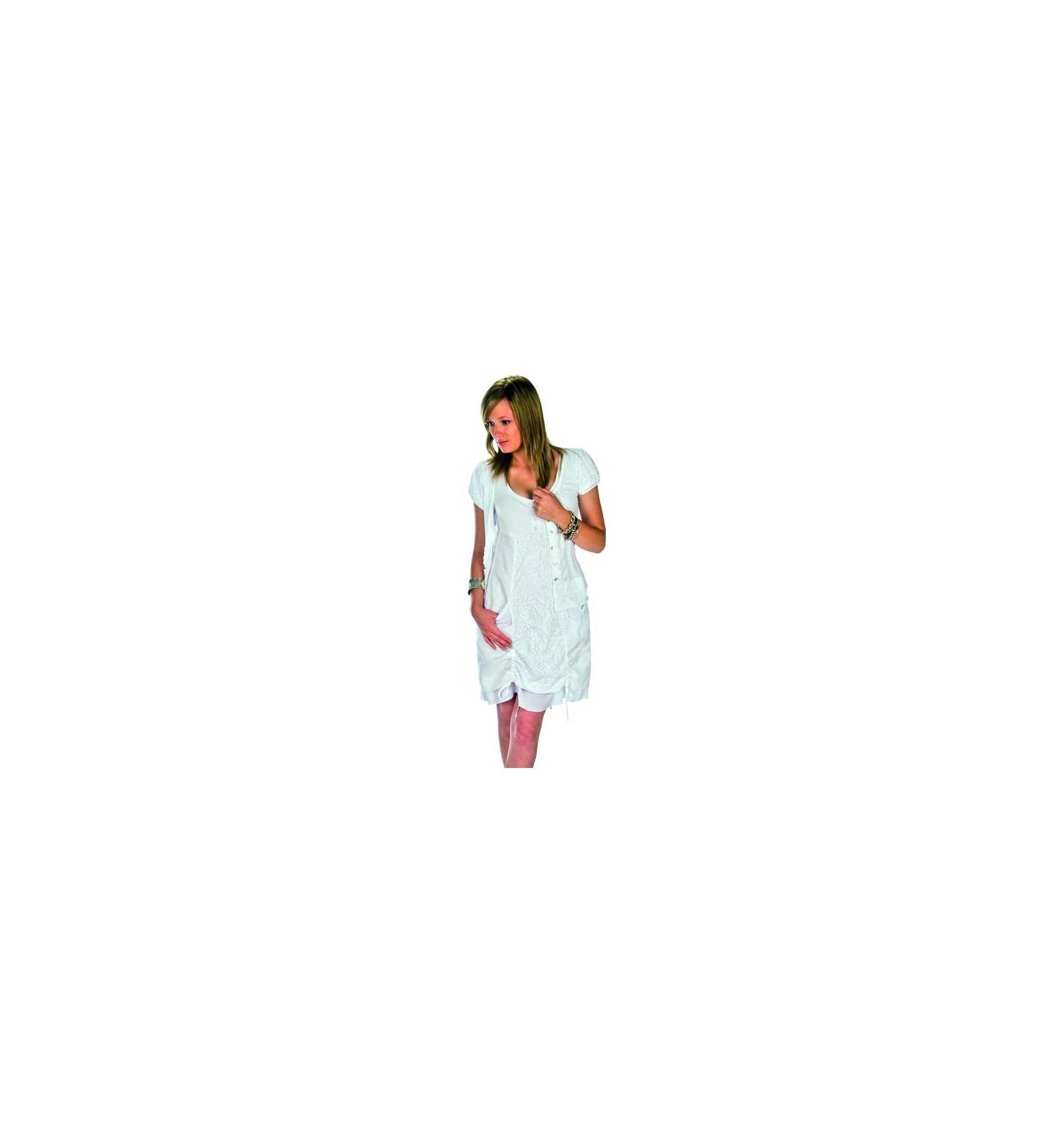 dd503e096de Robe courte en lin blanc marque Maloka - Mode-Lin.com