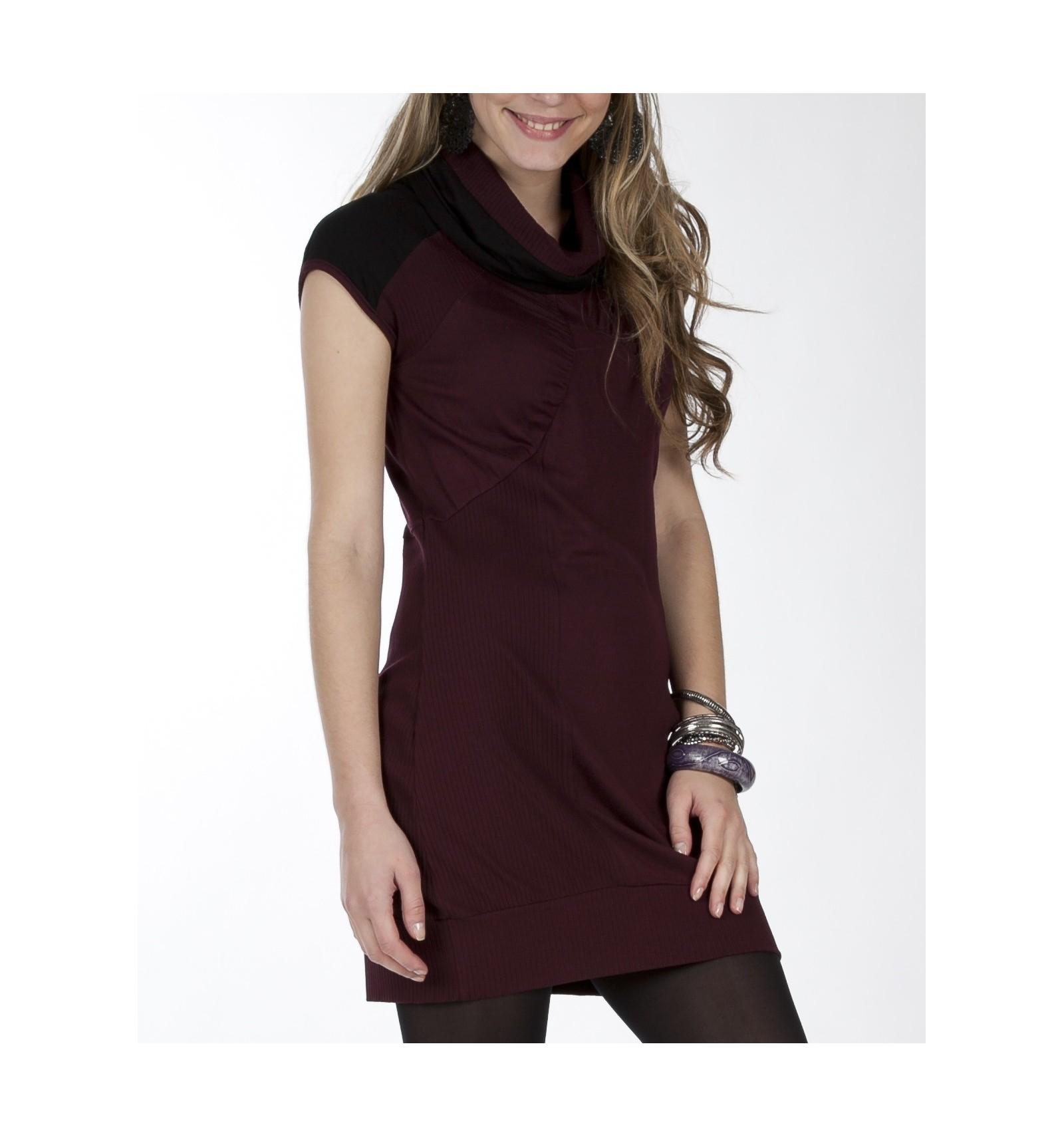 Short Dress Plum Maloka Col Top - Mode-Lin.com