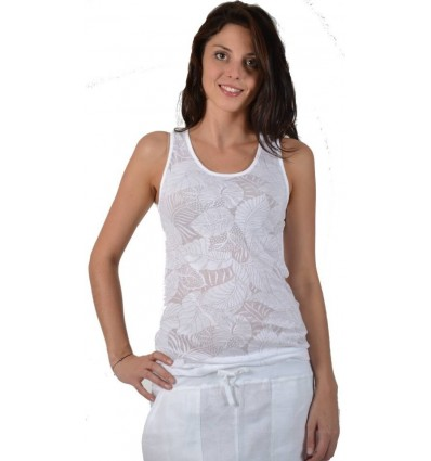 White tank top in cotton and polyester Maloka - Deb