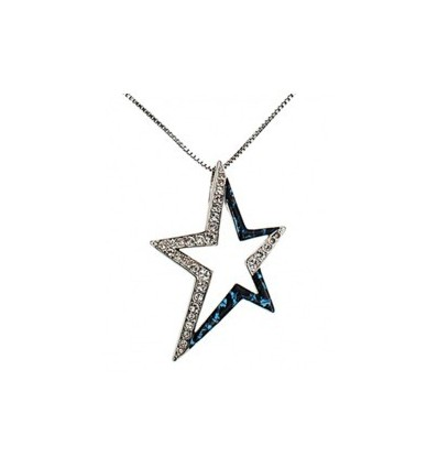 Collier Thierry Mugler Etoile Email Bleu