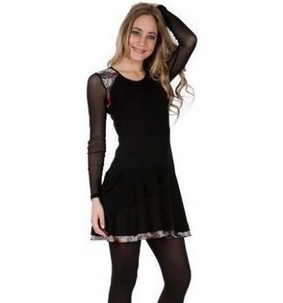 "Tunic Dress black maloka and sangria ""Montana"""