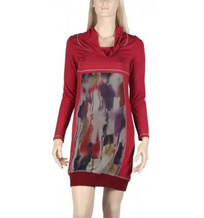 "Maloka dress long red colored handle ""Cachou"""