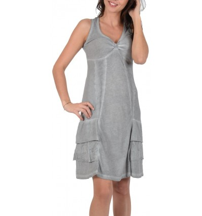 Cotton dress grey color Maloka - Timea