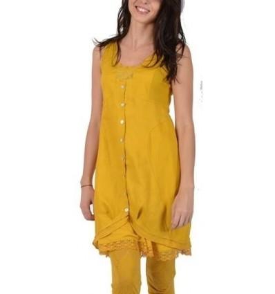 Waisted tunic yellow color brand Maloka -Timour-