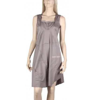taupe dress Maloka poplin -Bizance-