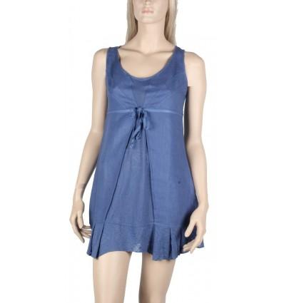 Tunique en lin et coton Maloka couleur bleu - Abba