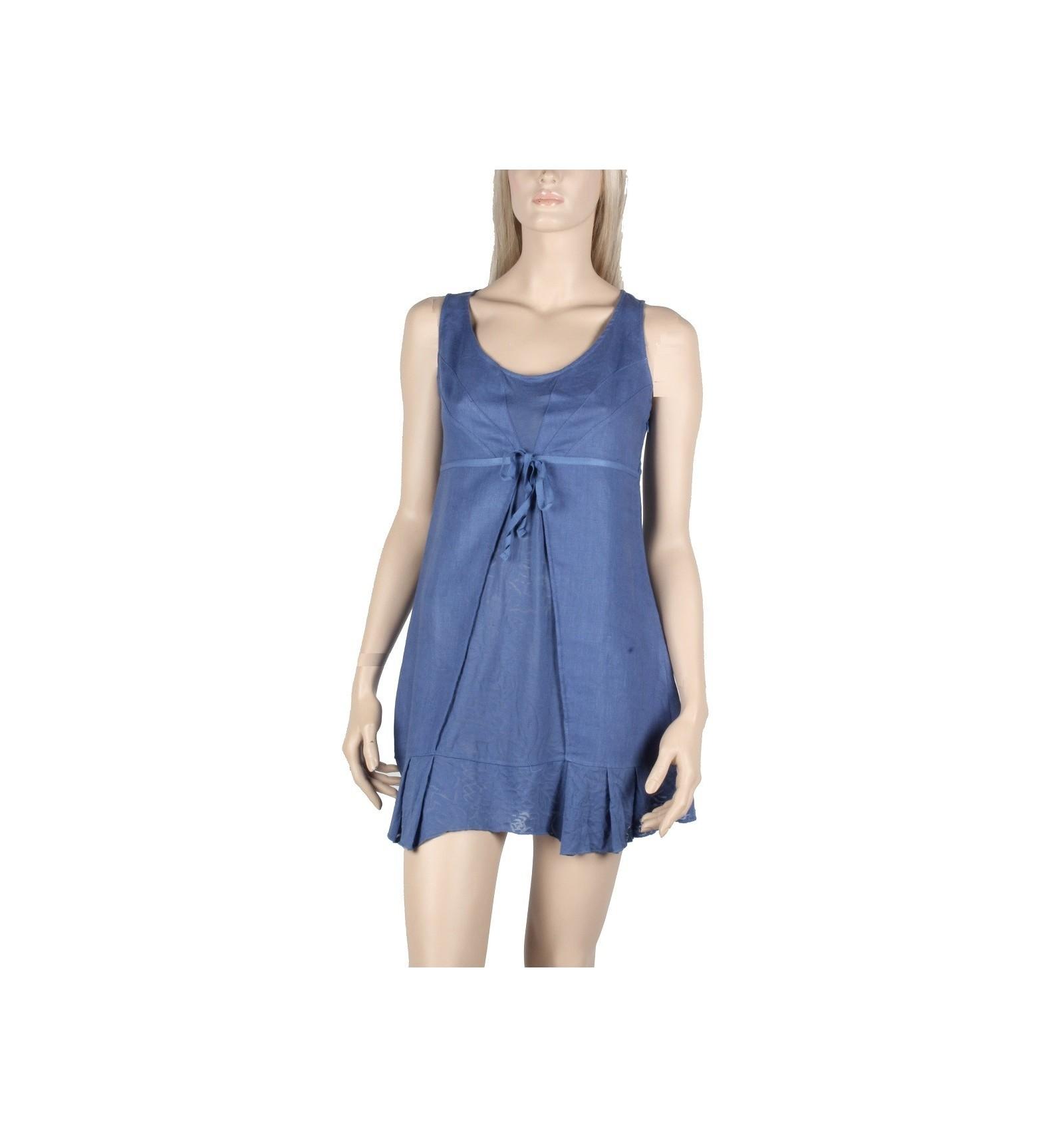 bdeac521dd4 Tunique Femme en Lin et Cotton couleur bleu - Robe Maloka - Mode-Lin.com