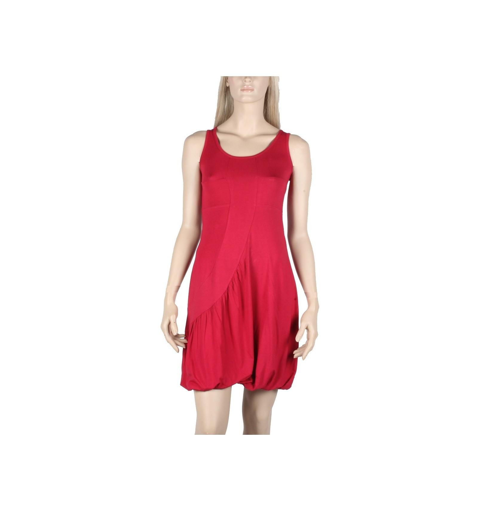 Natural cotton dress Maloka straspberry color \