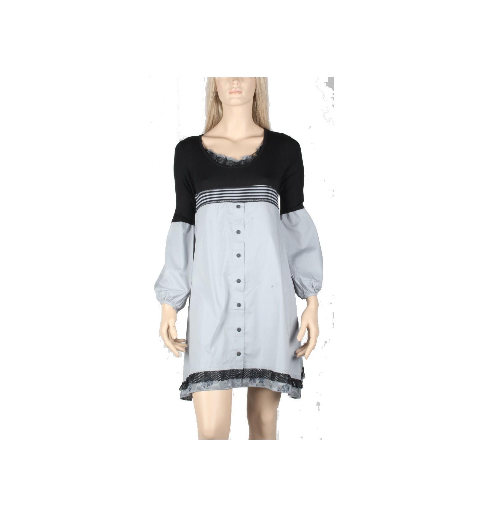 0bbc888f99c Robe maloka gris en Popeline de coton - Mode-lin.com