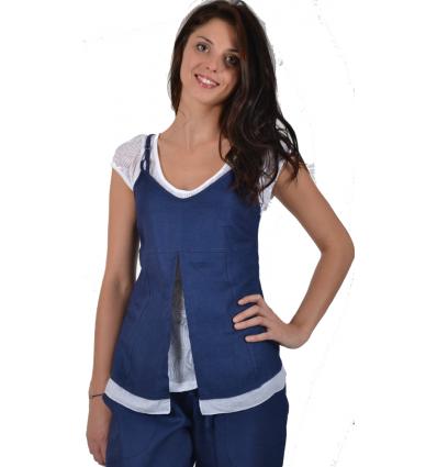 Blue T-shirt Maloka Linen and Cotton - Anae