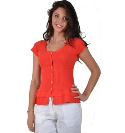 red T-shirt cotton Maloka - Aziza