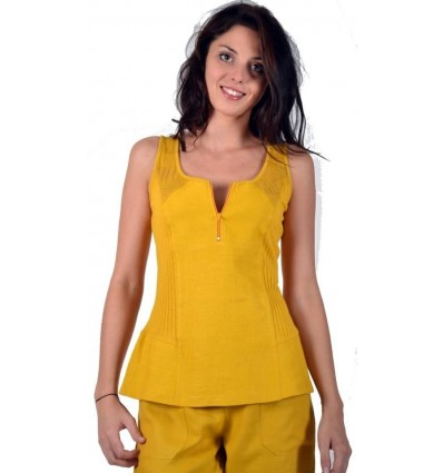 Yellow tank top Maloka Linen and cotton - Austin
