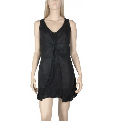 "Linen and cotton tunic Maloka black color ""Abba"""