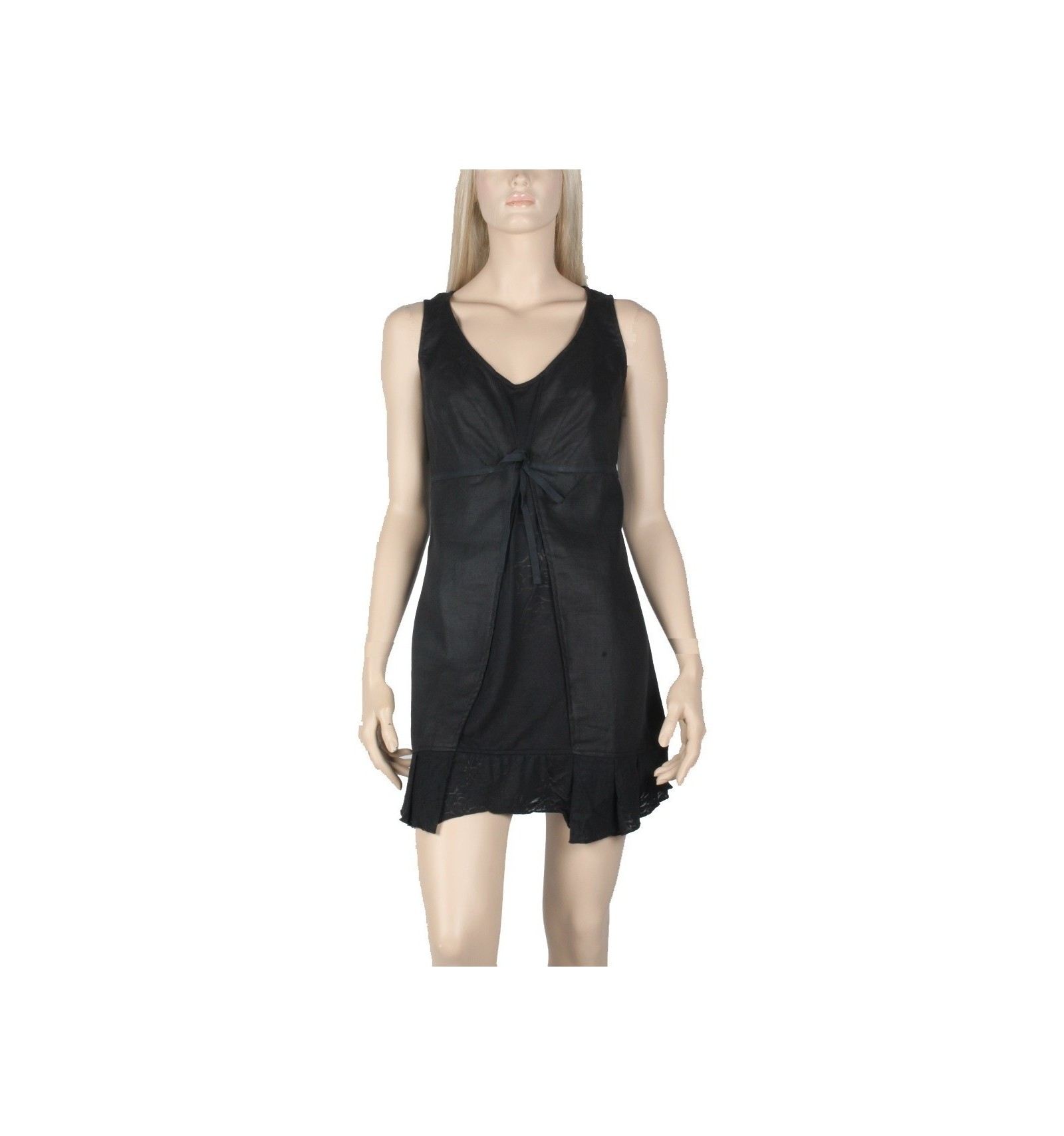 Tunic Women Linen and Cotton black - Dress Maloka - Mode-Lin.com