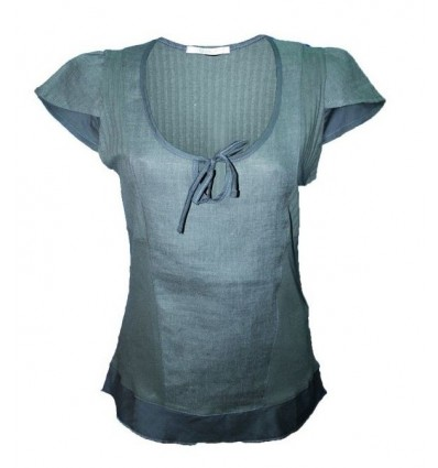 Maloka shirt in linen and cotton color steel - Albano
