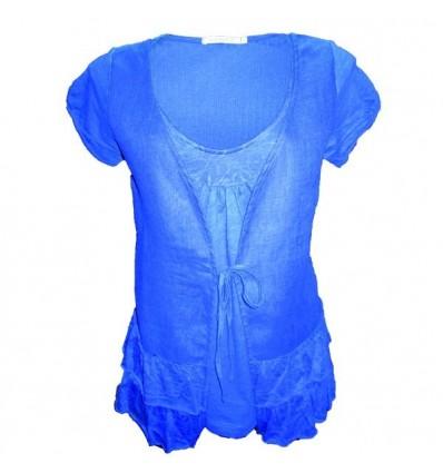 Tee-shirt femme lin et conton bleu Maloka - Aline