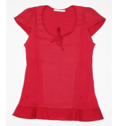 tee shirt Maloka en lin et coton couleur framboise - Albane
