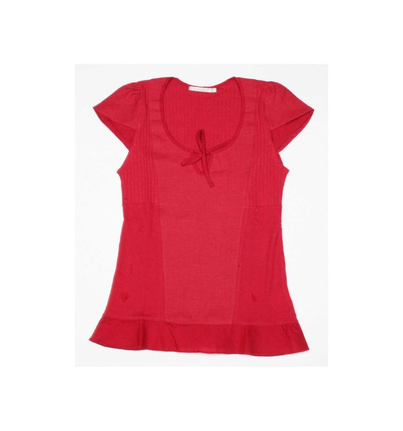 Couleur Framboise tee shirt maloka en lin et coton couleur framboise - albane