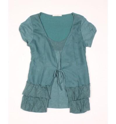 Tee-shirt femme lin et coton couleur jade Maloka - Aline