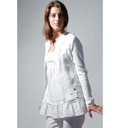 veste en lin couleur blanc