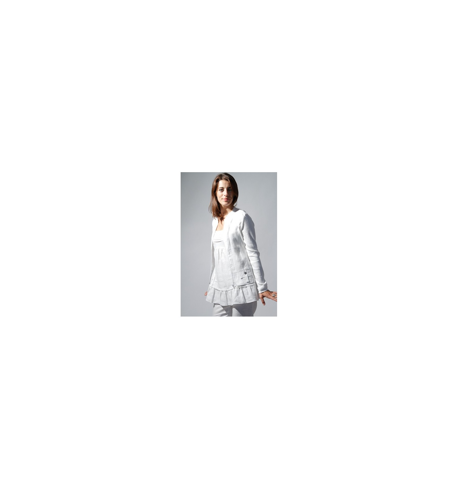 Reduced Price! Veste En Lin Couleur Blanc