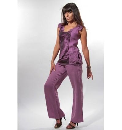 pantalon en lin naturel purpel